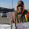 Laborers 670 pickets Konrad Construction work at Menards