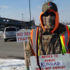 Laborers 670 pickets Konrad Construction work at Menards