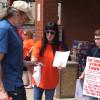 Jimmy Hoffa's granddaughter joins Teamster 688 Schnucks handbilling