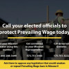 Construction workers: save prevailing wage, your paycheck. Call, write, email legislators NOW