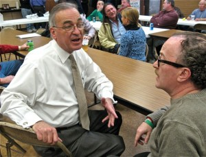 TALKING SHOP: Madison County Sheriff Bob Hertz (left) compares notes with Democrat Cullen L. Cullen, who is running for Illinois state representative in the 112th District, prior to the Jan. 23 Madison County Federation of Labor meeting. – Labor Tribune photo