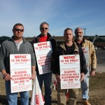 Members of Glaziers Local 513 picketing at the Menard's store in St. Peters included (from left) Matt Brinkmann, James Hinch, business Representative Mark Kuhlenberg and Mike Litzau Sr.– Labor Tribune photo