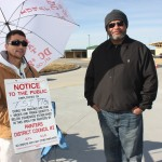 Painters and Allied Trades District Council 2 member Clarence Childers and Paul Veasley, a member of Glaziers Local 513, were protesting substandard wages being paid by TSI Painting at the new Menard's store in St. Peters.– Labor Tribune photo