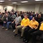 "UNION MEMBERS TURNED OUT in force to testify against Rep. Eric Burlison's ""right-to-work"" (for less) bill. – We Are Missouri photo"