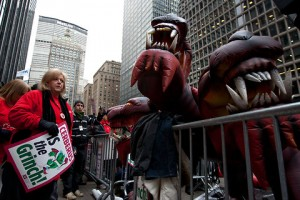 New York - Nurses protesting last year outside the headquarters of Cerberus Capital Management, which owns several hospitals, used inflatable dogs instead of the familiar inflatable rats, to symbolize the company's namesake, the canine monster in Greek mythology that guarded the gates of hell. – New York Times photo by Ruth Fremson.