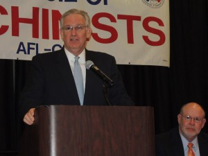 MISSOURI GOV. JAY NIXON speaking to union leaders at the AFL-CIO's Joint Legislative Conference in Jefferson City March 25, said prevailing wage must be enforced, right-to-work (for less) is wrong for Missouri, and Medicaid should be expanded to create jobs and provide insurance for 300,000 uninsured Missourians. – Labor Tribune photo