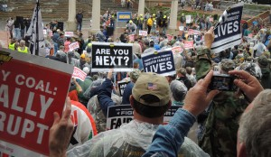 MORE THAN 2,000 MINERS, supporting union members, faith and community leaders rallied at Keiner Plaza, across from Peabody Energy's headquarters April 16 to protest the threatened cut-off of health care benefits in the bankruptcy proceedings of Peabody spinoff Patriot Coal.  – Labor Tribune photo