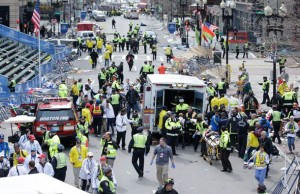 Emergency workers respond to the scene of the April 15 bombings at the Boston Marathon.