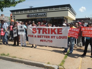 Fast food workers striking with the support of local activists at Jimmy John's in Soulard. Labor Tribune photo