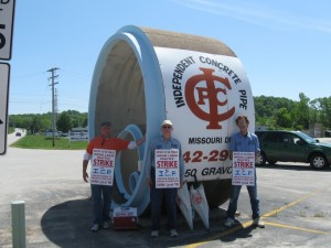 SOUTH ST. LOUIS COUNTY: Members of Laborers Local 110 went on strike Monday, May 13, against Independent Concrete Pipe's plant at 12950 Gravois Road seeking a modest company contribution to their health care and pension benefits. Labor Tribune photo