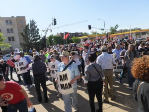 CLOSING DOWN the intersection at Delma and Skinker, hundreds of protesters – fast food employees, union members and leaders, faith groups and concerned citizens – picketed and chanted before moving out of the intersection to picket the Church's on the corner. Labor Tribune photo