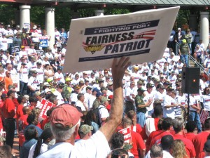 A MINER'S SIGN at an April 29 rally in Kiener Plaza says all the UMWA is fighting for in its dealings with bankrupt Patriot Coal. A judge's ruling last week gave the struggling coal company authority to void its union contracts with the Mine Workers and cut retiree benefits. Labor Tribune photo
