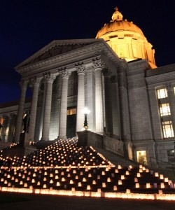 1,500 LUMINARIAS on the steps of the Missouri Capitol in Jefferson City illustrate the lives that would be saved every year if legislators fully expanded Medicaid to 138 percent of the federal poverty level. Progress Missouri photo