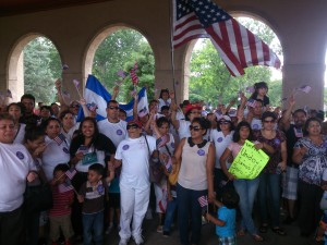 CALLING FOR CHANGE: Thousands of activists and union members turned out of the immigration rights rally in Forest Park.