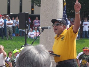 "NO JUSTICE, NO PEACE: Lew Moye, president of the St. Louis Chapter of the Coalition of Black Trade Unionists told miners and supporters June 17 there would be no peace until Peabody, Arch and Patriot lived up to their obligations. Moye then led led the crowd in a chant of ""Peabody promised, Peabody lied!"" – Labor Tribune photo"