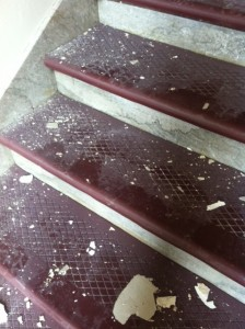 LEAD CONTAMINATED PAINT chips and dust on a stairwell in Sumner High School. – Painters & Allied Trades District Council 2 photo