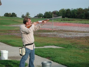 "PULL! FOR THE UNITED WAY: Charles ""Totsie"" Bailey, business manager for Steamfitters Local 439 at last years' trap shoot. – Labor Tribune photo"