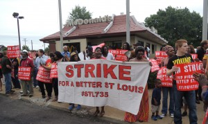 Nearly 100 protesters picketed the McDonald's at 4420 South Broadway July 29 in what was the first of two days of strikes in St. Louis and a week's worth of actions in seven cities across the country by fast food workers demanding a living wage and the right to form a union without retaliation. Labor Tribune photo