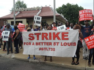 Fast food workers striking for higher pay and the right to form a union without retaliation outside a St. Louis area McDonald's.  Labor Tribune photo