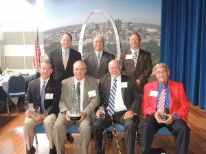 "PRIDE HONOREES: Recognized for their contributions to the St. Louis construction industry at the PRIDE labor/management organization's annual awards luncheon were (front row, from left) Steve Sobo, director of Design and Construction for Washington University School of Medicine, who received the Joe Rinke Owner Award; Steve Gill, director of the Boeing Company's St. Louis Shared Services Group, who accepted the Industry Impact Award on behalf of Boeing; Hugh McVey, president of the Missouri AFL-CIO, who received the Dick Mantia Labor Award; and George ""Butch"" Welsch, president of Welsch Heating and Cooling, who received the Al Fleischer Management Award. Congratulating the award winners are (back row, from left) St. Louis Mayor Francis Slay, PRIDE Executive Director Jim LaMantia, and presenter Robert Grossman of Murphy Company Mechanical Contractors. Labor Tribune photo"