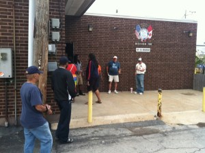Amalgamated Transit Union Local 788 workers line up for strike vote against Metro in St. Louis.  KMOX/Brett Blume photo