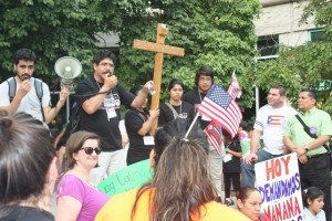 "IMMIGRATION REFORM advocates, including Pablo Tapia (speaking in the photo) rally on the steps of the St. Charles County Courthouse as part of an 11-city, tour through the Midwest ""battleground states"" aimed at prodding key members of Congress to adopt comprehensive immigration reform."