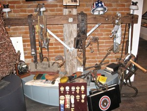 TOOLS OF THE TRADE: This display in the labor union room shows items often used on the job.