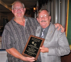 "LABOR MAN OF THE YEAR: Southwestern Illinois Central Labor Council President Bill Thurston (left) presents the George R. Badgley Labor Man of the Year award to Charles ""Totsie"" Bailey, business manager for United Association of Steamfitters Local 439. Labor Tribune photo"