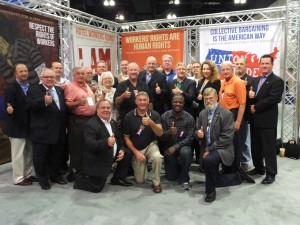 Los Angeles – THE ILLINOIS STATE DELEGATION at the AFL-CIO convention included (first row, from left) Tom Villanova, president, Chicago and Cook County Building Trades Council; Dean Apple, president, IBEW 15; Keith Richardson, APWU Local 1; and Ross Miller, business representative, Machinists District 9. Second row, from left: Terry Lynch, vice president, Asbestos Workers International Union; Jim Dixon, Springfield Central Labor Council; Nancy Gardner, Peoria Central Labor Council; Bill Hite, General President, United Association; Michael Carrigan, president Illinois AFL-CIO; Tim Drea, secretary-treasurer, AFL-CIO; Sue Gilbert, first vice president, Northeastern Illinois Federation of Labor; John Penn, vie president, Midwest Region Laborers International Union and, Brian Mulheran, business representative, Sheet Metal Workers Local 73. Back row, from left: Rick Terven, executive vice president, United Association; Carl Draper, president, Decatur Central Labor Council; Terry Reed, president, Springfield Central Labor Council; Eric Dean, general secretary Ironworkers; Bill Francisco, business representative, Painters Local 288; Terry Healy, Laborers Great Lakes Region; Patrick Statter, president, Northeastern IL Central Labor Council; and Steve Conrad, Illinois Valley Central Labor Council.  – Labor Tribune photo