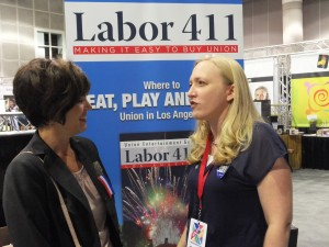 Los Angeles – FROM MISSOURI, Missouri AFL-CIO Chief of Staff Mary Paden Otto (left) and Jobs with Justice Missouri Director Lara Granich discussing the issue of opening the labor movement to kindred outside groups in the lobby outside the AFL-CIO Convention meeting hall. The week of the convention Missouri union leadership was tied up in the state fighting efforts to override Gov. Jay Nixon's vetoes of anti-union, anti-worker, anti-education bills.  – Labor Tribune photo