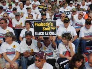 Active and retired United Mine Workers of America rallying across from Peabody Energy headquarters in St. Louis on Sept. 24, 2013. – Labor Tribune photo