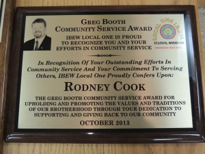 THE GREG BOOTH COMMUNITY SERVICE AWARD presented to IBEW Local 1 member Rodney Cook for his work honoring veterans. – Labor Tribune photo