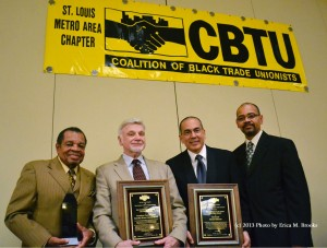 THE COALITION OF BLACK TRADE UNIONISTS honored United Mine Workers of America International President Cecil Roberts (second from left) and Rev. Martin Rafanan (second from right), community director for the STL Can't Survive on $7.35 campaign at CBTU's annual Ernest & De Verne Calloway awards banquet Oct. 19. Presenting the awards to Roberts and Rafanan were CBTU St. Louis Chapter President Lew Moye (left) and CBTU International President Terry Melvin (right). –Erica M. Brooks photo