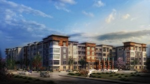 AN ARTIST'S RENDERING of the Cortona apartment complex at Forest Park. The 276-unit development represents a $42 million by the AFL-CIO Building Investment Trust, which invests union pension funds in building development and acquisition.
