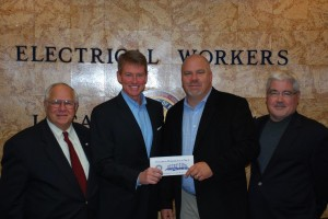 FIGHTING FOR WORKING FAMILIES, Missouri Attorney General Chris Koster (second from left) visited recently with IBEW Local 1 to talk about the challenges facing Missourians with Local 1 President Tom George (left), Local 1 Business Manager Frank Jacobs (second from right) and St. Louis Electrical Connection Director of Government Affairs Tim Green. –John Moyle, IBEW Local 1 photo
