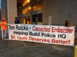 IBEW LOCAL 1 is protesting the involvement of Tom Ruzicka and the company R E Contracting Inc. in the construction of the new St. Louis Police Department headquarters at 1915 Olive Street in St. Louis In 2010, Ruzicka pled guilty in federal court to stealing more than $100,000 from an employee benefit fund.