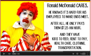 McNONSENSE: A screencap from a video from Fast Food Forward posted on LowPayIsNotOK.org ridiculing McDonald's for it's latest offensive advice for low-wage workers on its McResource help line. Among the tips: Quit complaining to reduce stress.