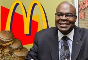 """SCROOGE OF THE YEAR: McDonald's richly compensated CEO Donald Thompson, who pays his workers minimum wage, was elected Scrooge of the Year in St. Louis Jobs with Justice's annual """"Scrooge of the Year"""" election for best exemplifying the spirit of Ebenezer Scrooge."""