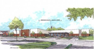 AN ARTIST'S RENDERING of the new Edwardsville High School Aquatic Center (at right) adjacent to the school's Wrestling Center.