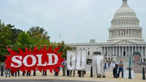 """SAYING NO: Demonstrators outside the U.S. Capitol Building protesting against the Trans-Pacific Partnership (TPP) """"trade"""" agreement and the use of """"fast track"""" trade promotion authority (TPA) to push it through.  – Occupy.com photo"""