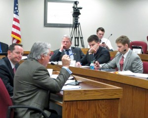 WRONG FOR WORKING FAMILIES: Mike Louis, secretary-treasurer of the Missouri AFL-CIO (second from left), testified Jan. 13 in opposition to House Bill 1099, a bogus right-to-work (for less) measure filed by Rep. Eric Burlison (R-Springfield) (left). Listeining in the front row are state representatives Michael Frame (D-Eureka), Kevin McManus (D-Kansas City) and Stephen Webber (D-Columbia), all of whom expressed concern about how the measure would impact unions. –Gary Otten photo