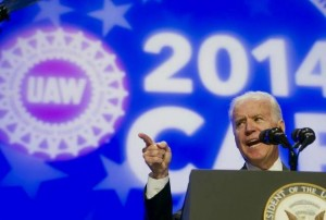 VICE PRESIDENT JOE BIDEN praised unions and blasted efforts to impose right-to-work laws at the 2014 UAW National Community Action Program Conference in Washington Feb. 5.  – AP/Cliff Owen photo