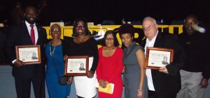 DISTINGUISHED HONOREES at the Coalition of Black Trade Unionists' 36th Annual Martin Luther King Jr. Human Rights Awards Banquet celebrating with members of the CBTU St. Louis Chapter are (from left) Honoree State Rep. Clem Smith (D-St. Louis), Fay Davis, Honoree State Rep. Karla May (D-St. Louis), Hattie Price, Sonja Gholston Byrd, Honoree and President of the American Federation of Government Employees (AFGE) Local 3354 Steve Hollis and Jim Wilkerson. – Jay Ozier photo