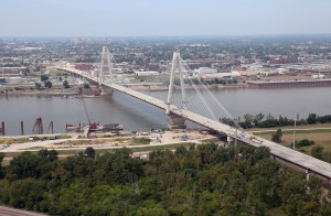 THE COMPLETED BRIDGE'S 1,500-foot span makes it the third longest cable stay bridge in the United States. Towering at 400 feet, the bridge is two-thirds the height of the Gateway Arch.