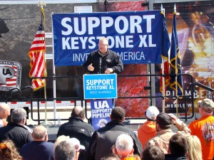 SUPPORTING KEYSTONE: Sean McGarvey, President of the AFL-CIO Building Trades department (shown here addressing participants at a Keystone XL Rally in Des Moines, Iowa last year) says thousands of workers would be helped by President Obama approving the pipeline. –RadioIowa photo