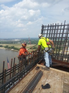 IRONWORKERS placing rebar on the east tower.