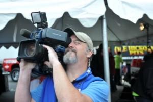 ON THE JOB, IBEW Local 4 news photographer John Anderson with KSDK-TV.
