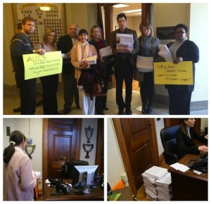 DELIVERING A MESSAGE from his constituents, concerned Missourians (top), led by Progress Missouri, the Committee to Protect MO Families and Preserve Middle Class Missouri  delivered more than 6,850 letters to the offices of House Speaker Tim Jones (R-Eureka) (bottom left), calling on the Speaker to drop anti-union, anti-worker right-to-work legislation. The complete stack of letters can be seen on the floor next to Jones's aide (bottom right). – Progress Missouri photo