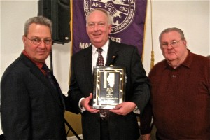FRIEND OF LABOR: Illinois State Rep. Dan Beiser (D-Alton) (center) was presented the Friend of Labor Award by Federation First Vice President Mike Fultz (USW Local 50) (left) and David Hayes (Machinists Lodge 660) (right) of the Federation Executive Board. – Labor Tribune photo