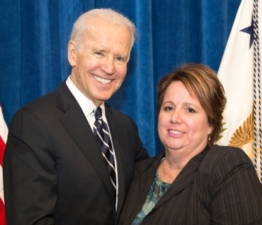 FIGHTING TO PROTECT America's Merchant Marine fleet, Becky Sleeper, St. Louis Port Agent for the Seafarers' International Union (SIU), met with Vice President Joe Biden during his recent trip to Granite City, to encourage the Obama Administration's continued support of the Jones Act, which ensures American ships and sailors are available to meet our nation's strategic goals, here and abroad.